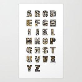Northwest Pacific Coast American Native Totem Alphabet Art Print