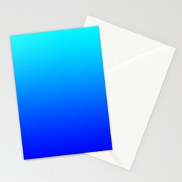 Aqua Blue Bright Ombre Stationery Cards