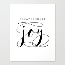 Today I Choose Joy wood sign, farmhouse decor, rustic, vintage, Bible verse, home and living Canvas Print
