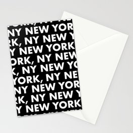 New York, NY Graphic Pattern 121 Black and White Stationery Cards