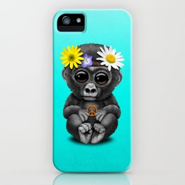 Cute Baby Gorilla Hippie iPhone Case