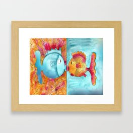 Fish Kiss Framed Art Print