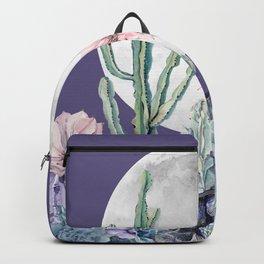 Desert Cactus Full Moon Succulent Garden on Purple Backpack