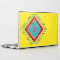 kilim Laptop & iPad Skins featuring Persian Kilim - Yellow Background - Distressed by Katayoon Photography