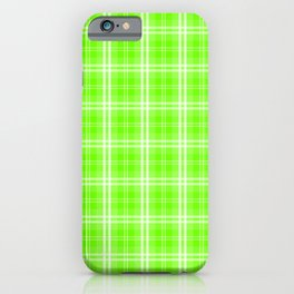 Bright Neon Green and White Tartan Plaid Check iPhone Case