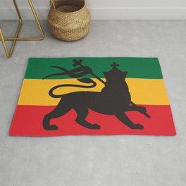 rastafarian flag with the lion of judah (reggae background) Rug
