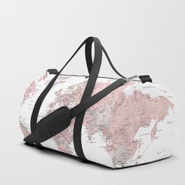Make memories - Dusty pink and grey watercolor world map, detailed Duffle Bag
