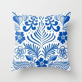 Mexican Folk Floral Ornaments Throw Pillow