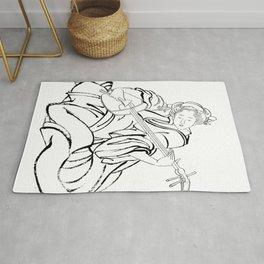 Hokusai, a woman and a shamisen -manga, japan,hokusai,japanese,北斎,ミュージシャン Rug