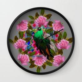 GREY COLOR PINK ROSES &  GREEN PEACOCK ART Wall Clock