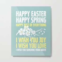 Happy Easter, Happy Spring | Poem Artwork | Robin's Egg Blue Metal Print