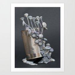 Kiss Me | Grey Mushrooms on a Tin Can | Surrealistic Art | PetitPlat.fr Art Print