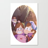 gravity falls Canvas Prints featuring gravity falls by Tae V