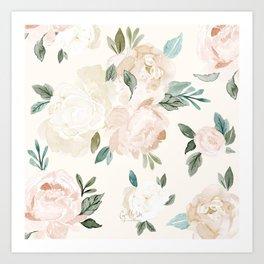 Vintage Blush Floral - softest pastel Art Print
