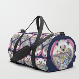 Hedgehog Hearts on Blue Duffle Bag