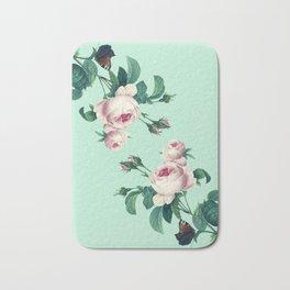 Roses Mint Green + Pink Bath Mat