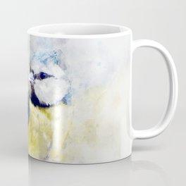 Waterolour blue tit bird painting illustration blue navy yellow artsy animal nature Coffee Mug