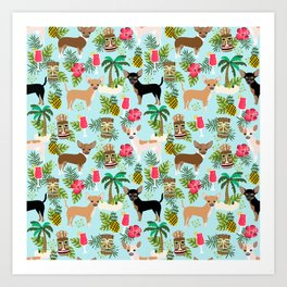 Chihuahua Tiki design - Summer tropical dog design Art Print
