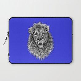 Asiatic lion - big cat - ink illustration - blue Laptop Sleeve