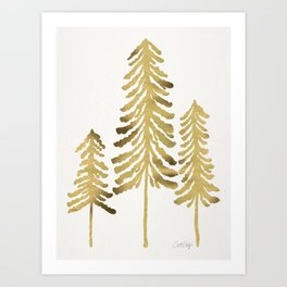 Pine Trees – Gold Palette Art Print