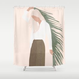 Holding a Palm Leaf Shower Curtain