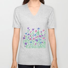 Cheerful spring flowers watercolor Unisex V-Neck