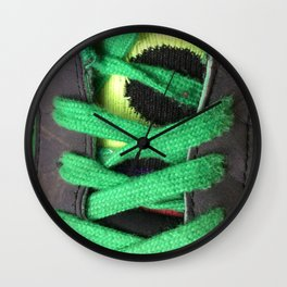 Green shoe laces Wall Clock