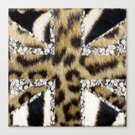 Wild | Hipster leopard Print Zebra UK Union Jack Flag  Canvas Print