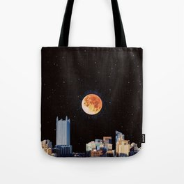 Blood Moon Over Pittsburgh Pennsylvania Skyline-Night Sky and Stars Tote Bag