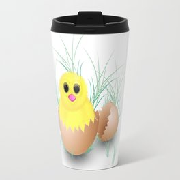 Chicken, chick, peeper, yellow chicken, egg shell, egg, shell, Easter, Easter chicken Travel Mug