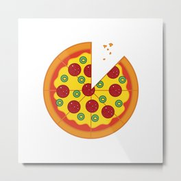 Pizza Salami Metal Print