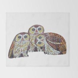 Three Owls - Art Nouveau Inspired by Klimt Throw Blanket