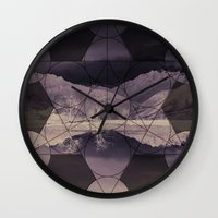 sacred geometry Wall Clocks featuring Sacred by Jemma Pope