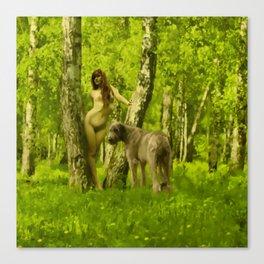 Ania and the Wolfhound at Dún na Rí Canvas Print