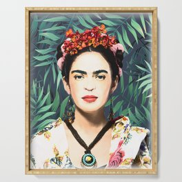 Frida Kahlo, watercolor, Frida, Frida Kahlo painting, botanical, tropical Serving Tray