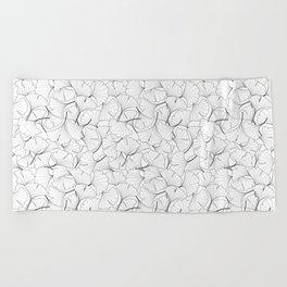 ginkgo leaves (white) Beach Towel