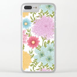 Painted Floral Pattern With Dahlias And Chrysanthemums Clear iPhone Case