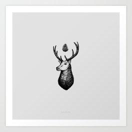 Deer & Pinecone Art Print