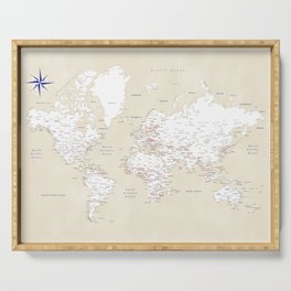 """Cream, white, red and navy blue world map, """"Deuce"""" Serving Tray"""