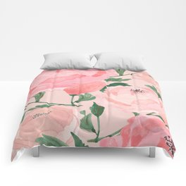 Watercolor Peonies with Blush Background Comforters