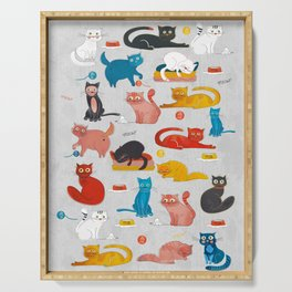 Playful Cats - illustration Serving Tray