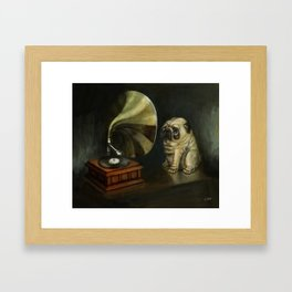 Pug and His Master´s Voice Framed Art Print