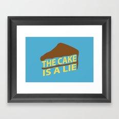 The Cake Is A Lie (Blue Version) Framed Art Print
