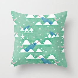 Sea unicorn - Narwhal green Throw Pillow