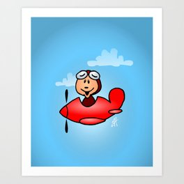 Red airplane with laughing pilot Art Print