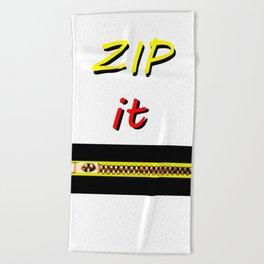 Zip it Black Yellow Red jGibney The MUSEUM Gifts Beach Towel