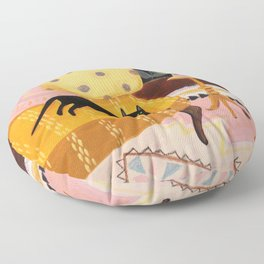 black cat on mustard yellow sofa painting by Tascha Floor Pillow