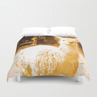alpaca Duvet Covers featuring Alpaca yellowish. by Alejandra Triana Muñoz (Alejandra Sweet