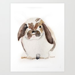 Bunny Watercolor (Flop Eared Bunny) Art Print