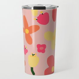 Pink Flowergram Travel Mug